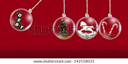 Concept depicting debt at Christmas time - stock photo