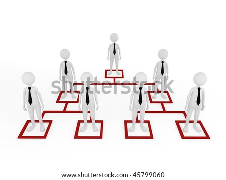 Concept, depicting employees at different tiers; great for business and organization structure concepts. - stock photo
