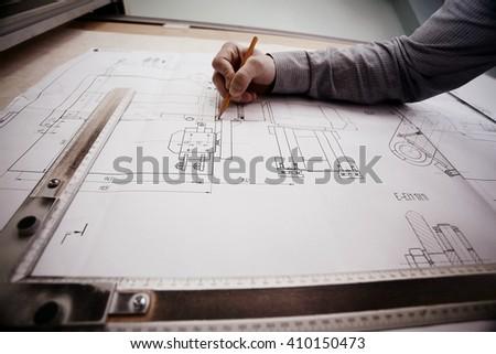 concept designer drawing engineer - stock photo