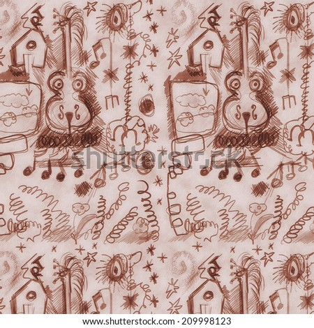 concept doodle old musical sketches grunge paper pattern - stock photo