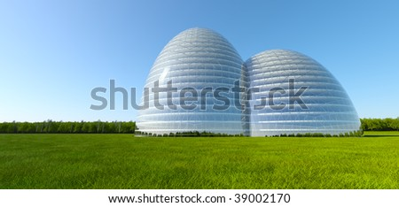 Concept ecological building at green grass field near forest - stock photo