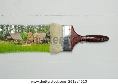 Concept environment protect, farm image paint brush on white wooden table with space - stock photo