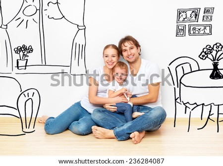 Concept family: Happy young family in the new apartment dream and plan interior - stock photo
