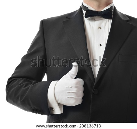 Concept for a good five star service with a thumbs up from the waiter  - stock photo
