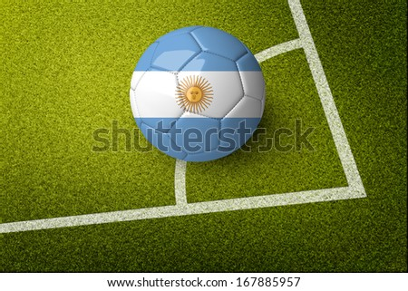 Concept for Brazil 2014 world cup. A soccer ball on green field with Argentina  flag on it. - stock photo