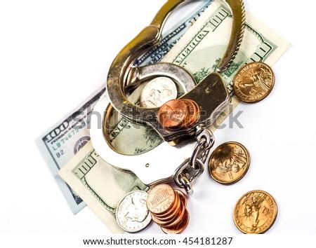 Concept For Corruption, Bankruptcy Court, Bail, Crime, Bribing - stock photo