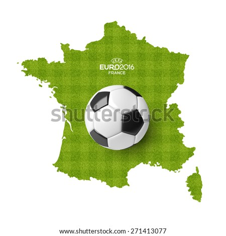 Concept for Euro 2016 France football championship. A soccer ball on a France map with a stripped grass soccer field pattern. - stock photo