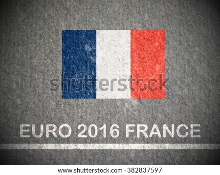 Concept for Euro 2016 France football championship.France flag paint on tile texture - stock photo