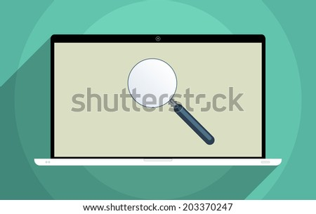 Concept for finding solutions, e-learning, decision making, solve problems and searching for information. Flat design illustration. - stock photo