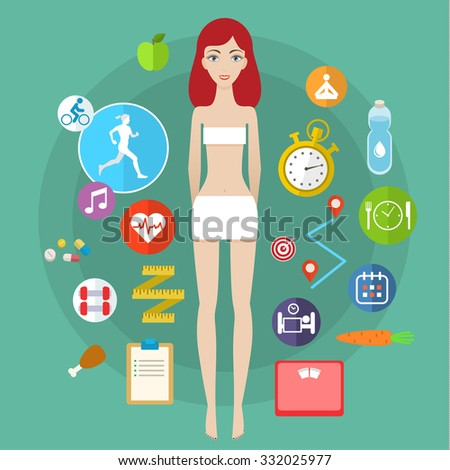 Concept for keeping fit, weight loss, fitness, dieting, nutrition regime, healthy lifestyle. Flat design colorful illustration  - stock photo
