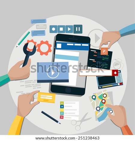 Concept for mobile application development, teamwork, brainstorm, cooperation with hands working on a smartphone navigation, screen interface, social media,  services. Raster version - stock photo