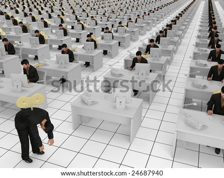 concept for office slaves and business success - stock photo