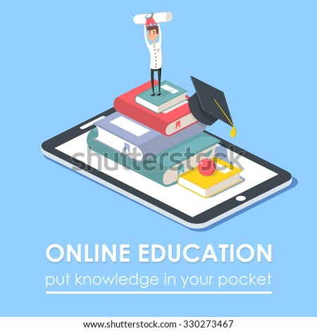 Concept for on line education. Flat isometric design. On line training courses, retraining, specialization, tutorials. Can be used for web design, banners, promotional materials etc. - stock photo
