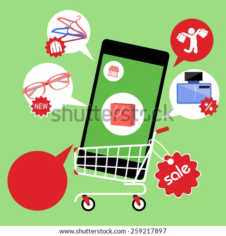 Concept for online shopping and e-commerce with shopping cart full of goods in smartphone with discount and colorless shopping pictograms. Raster version - stock photo