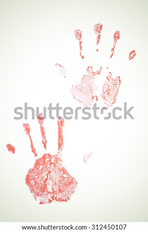 Concept Halloween Blood stains the hands color vintage. - stock photo