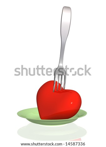 Concept - harmful food  threat to health of heart - stock photo