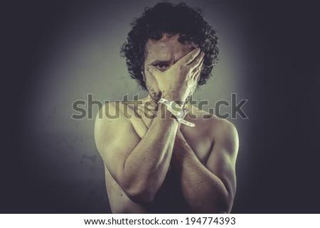 Concept help, Nude Man with hospital bracelet. - stock photo