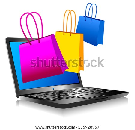 Concept icon computer shopping on the web  - Raster Version - stock photo