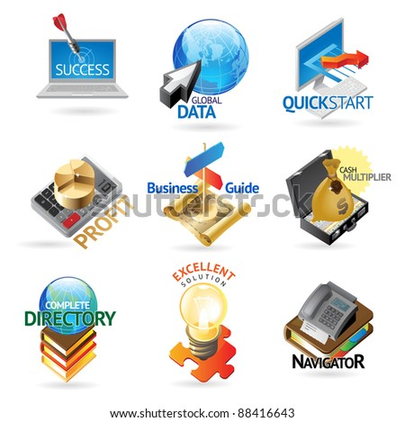 Concept icons for business. Illustrations for document, article or website. Raster version. Vector version is also available. - stock photo