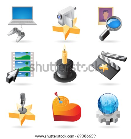 Concept icons for media. Illustrations for document, article or website. Raster version. Vector version is also available. - stock photo