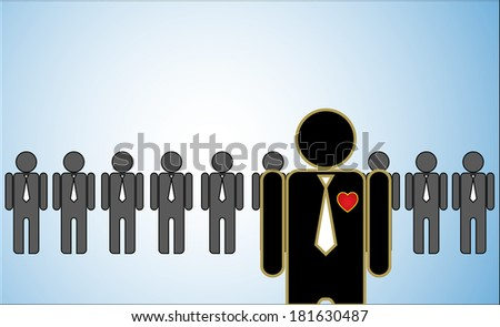 Concept Illustration of Leadership: a row of candidates or employers or people standing behind a bright leader standing in front. - stock photo