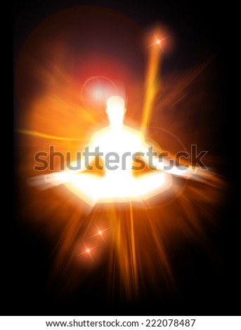 Concept illustration of positive energy and enlightenment  - stock photo