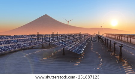 concept illustration of sustainable energy, solar panels and windmills - stock photo
