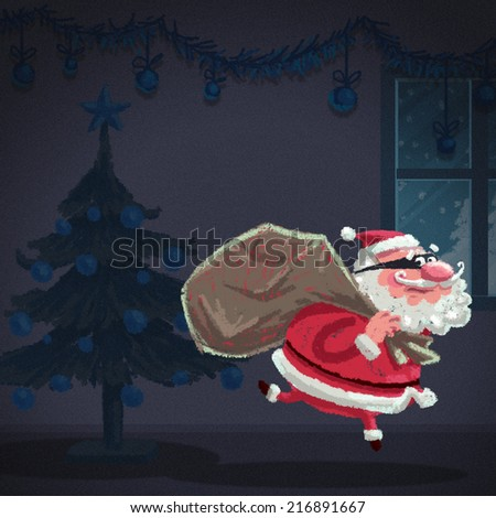 Concept illustration regarding christmas safety from burglars and home security - stock photo