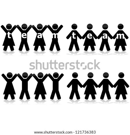 Concept illustration showing different groups of people holding hands to show their strength as a team - stock photo