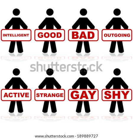 Concept illustration showing people holding labels which are commonly attributed to people - stock photo