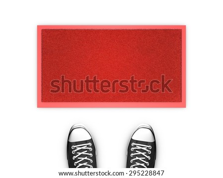Concept illustration showing shoes in front of a red door map. Copy space available. - stock photo