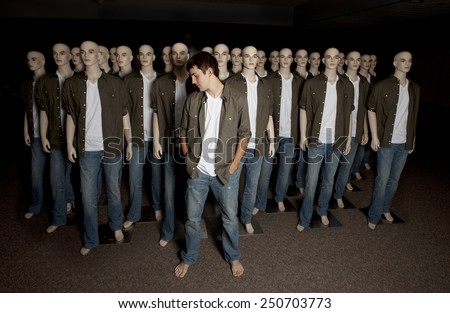 """Concept image about non-conformity and """"standing out from the crowd"""". - stock photo"""