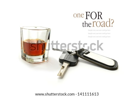 Concept image for drink driving. Copy space. - stock photo