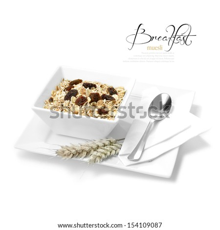 Concept image for healthy diet. Tasty morning muesli in white dish. Selectively lit to create soft shadows. The perfect image for a hotel or restaurant breakfast menu design. Copy space. - stock photo