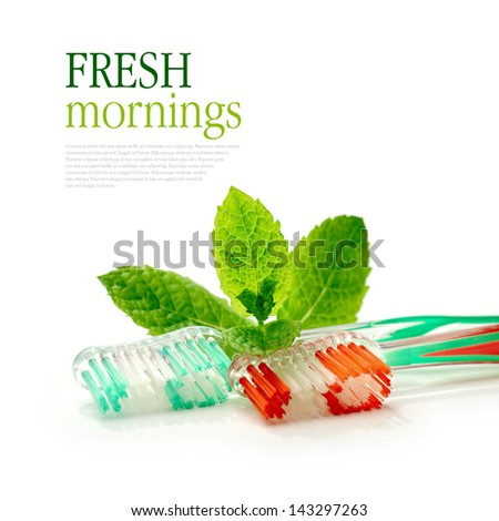 Concept image for healthy morning routines. Dental hygiene. Copy space. - stock photo