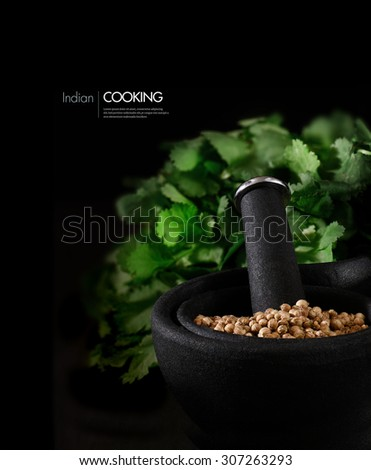 Concept image for Indian cooking ingredients. Coriander seeds, also known as Cilantro, in a stylish black granite mortar and pestle with fresh coriander leaves behind against black. Copy space. - stock photo