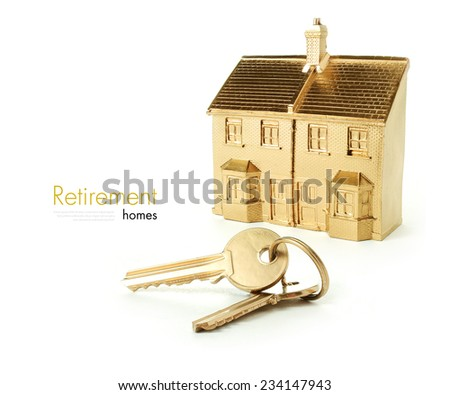 Concept image for newly purchased retirement homes, a golden future. Copy space. - stock photo