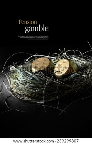 Concept image for pensions at risk. Creatively lit gold dice replacing gold eggs in a birds nest against black. Copy space. - stock photo