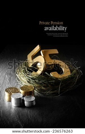Concept image for private pension availability at 55 years. Gold 55 in a grass birds nest with stacked coins against a black background. Copy space. - stock photo