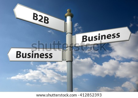 Concept image of a black and white signpost with the words B2B Business 2 Business against a blue cloudy sky. - stock photo