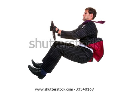 Concept image of a businessman driving a car that is 100% environmentally friendly! Isolated on a white background. - stock photo
