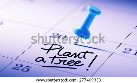 Concept image of a Calendar with a blue push pin. Closeup shot of a thumbtack attached. The words Plant a tree written on a white notebook to remind you an important appointment. - stock photo