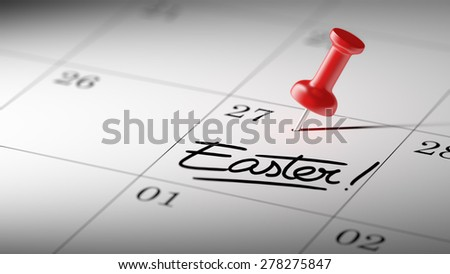 Concept image of a Calendar with a red push pin. Closeup shot of a thumbtack attached. The words Easter written on a white notebook to remind you an important appointment. - stock photo