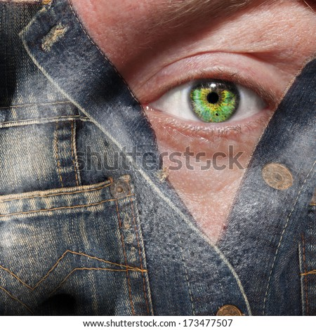 Concept image of a man coming out or hiding - stock photo