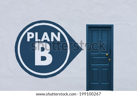 concept image of a nostalgia blue entry door in a white wall with a plan b icon on the left side - stock photo