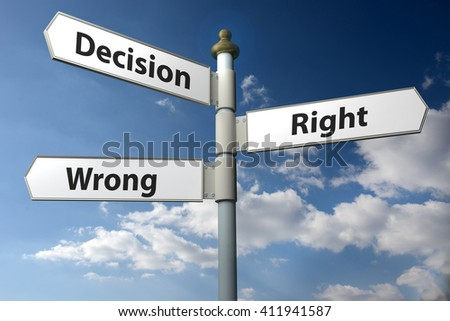 Concept image of a signpost with Decision Right or Wrong against a blue cloudy sky - stock photo