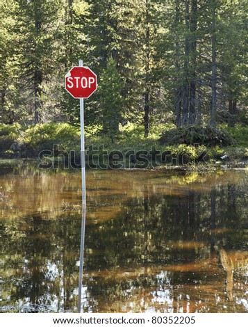 Concept image of a stop sign at a flooded intersection. - stock photo