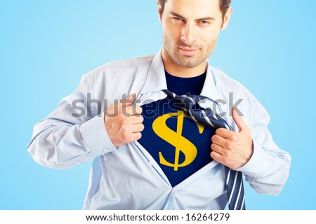 Concept image of Business Superhero pulling open shirt to reveal Dollar Sign - stock photo