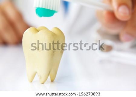 concept image of dental hygiene - stock photo