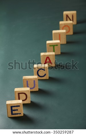 concept image of education like domino - stock photo